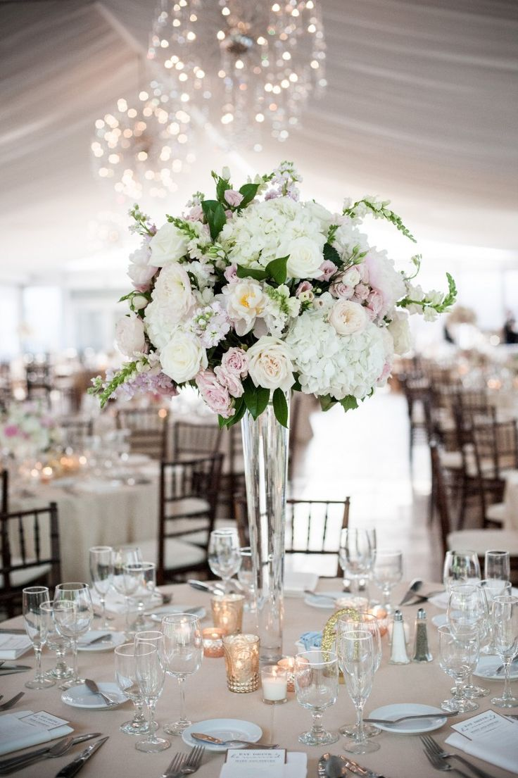 Tall Centerpieces at Galleria Marchetti with blush & white hydrangea, roses & peonies