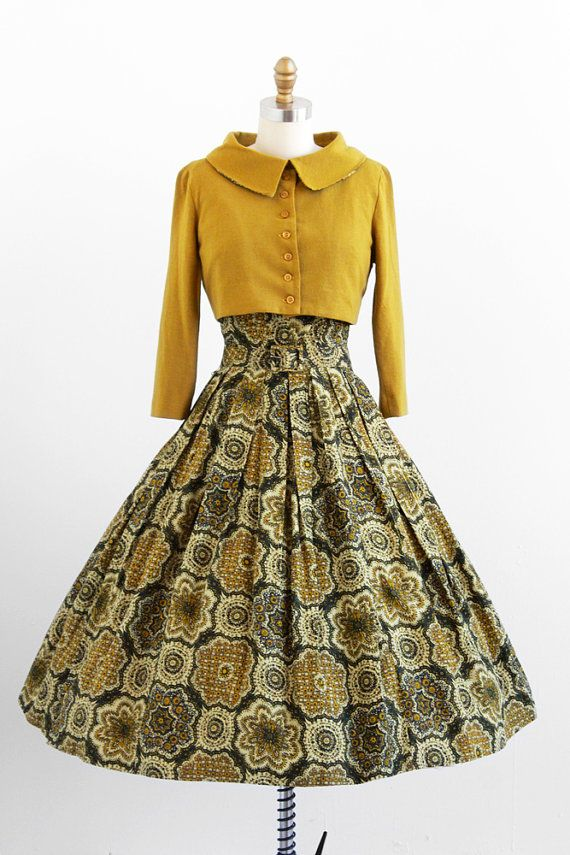 1950s green medallions dress, belt, + jacket set by Jonathan Logan | #vintage.