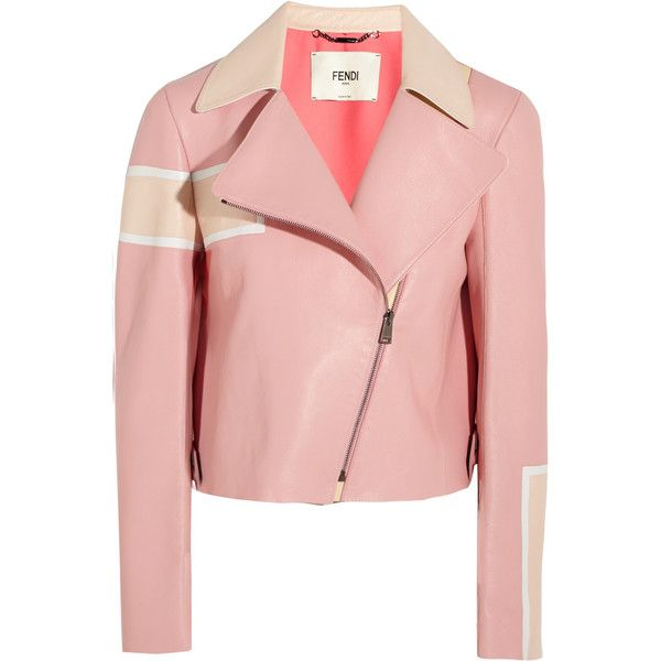 Fendi Striped leather biker jacket ($4,250) ❤ liked on Polyvore featuring outerwear, jackets, coats & jackets, leather jacket, tops, pink, striped jacket, asymmetrical zip jacket, pink jacket and leather moto jacket