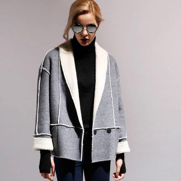 2015 осень и зиму одежду новый европейский этап овечьей шерсти распущенной шерсти композитного толстые шерстяные куртки женщин короткий параграф