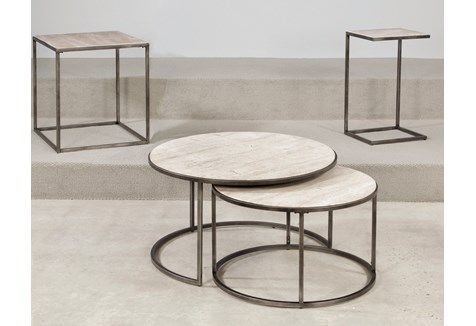 Found it for $505 house Hammary Furniture Modern Basics Round Coffee Table Set | The Simple Stores  http://www.houzz.com/photos/6482337/Hammary-Modern-Basics-Round-Cocktail-Table-with-Textured-Bronze-Base-traditional-coffee-tables