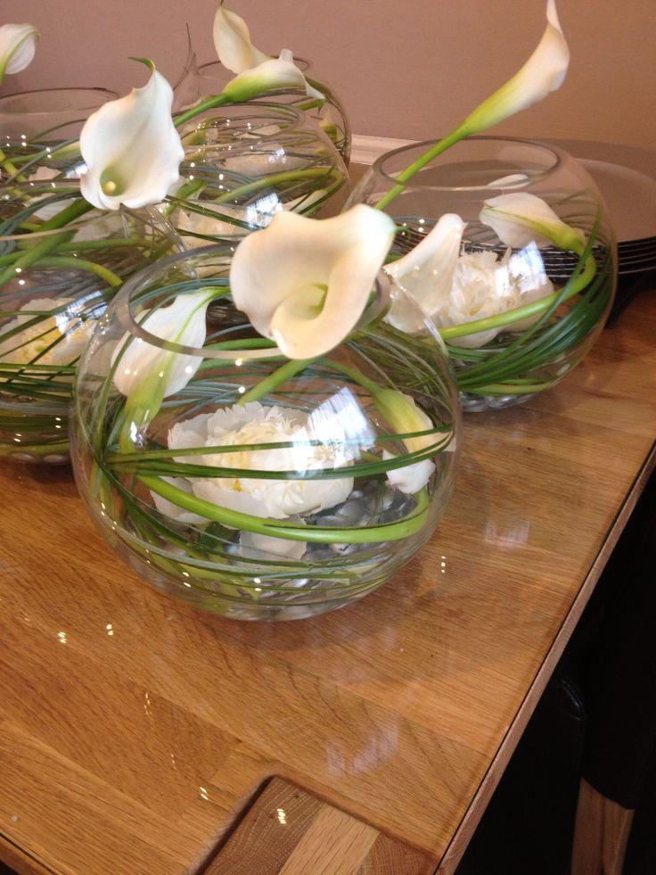 Cala Lily, peonie and bear grass goldfish bowl centerpiece