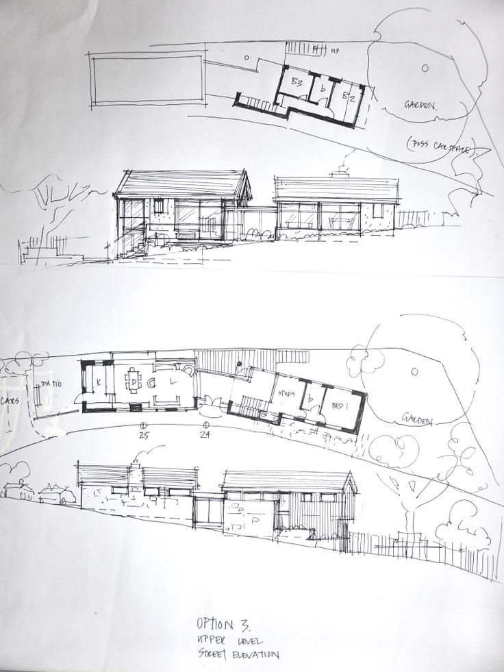 sketch design for a new build house on long, narrow sloping site in Windsor