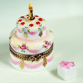 Limoges elegant birthday cake with roses and gift box