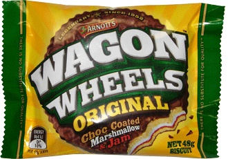 Arnott's Wagon Wheels 48g. Wagon Wheels - a marshmallow centre with a touch of jam, sandwiched between two round biscuits and then covered in chocolate.