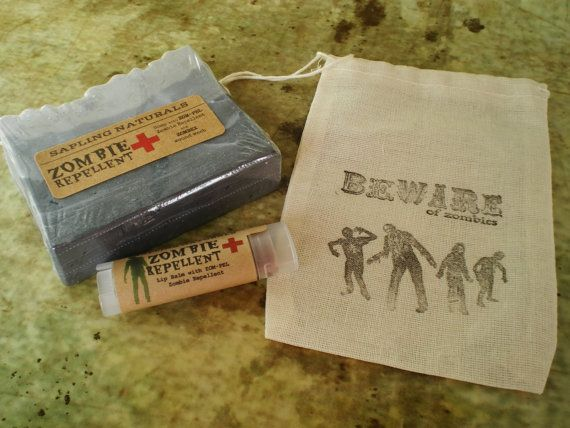 Zombie Gift Pack  zombie soap lip balm and by sapling naturals - E stocking stuffer