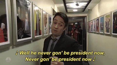 saturday night live lin manuel miranda season 42 snl 2016 well he never gonna be president now #humor #hilarious #funny #lol #rofl #lmao #memes #cute
