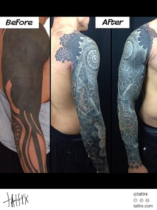 nathan mould white ink over blackwork coverup tattoo