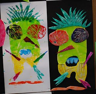 foam printing people elementary art lesson printmaking collagraph monsters monster