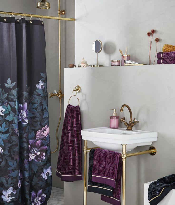 Duschdraperi med fototryck | Svart/Blommor | H&M HOME | H&M SE