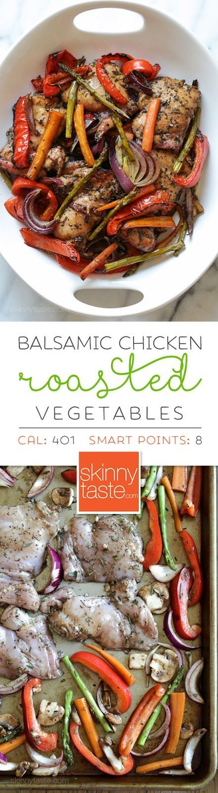 Balsamic Chicken with Roasted Vegetables – an easy, flavorful and low-carb sheet pan dinner! Smart Points: 8 Calories: 401: