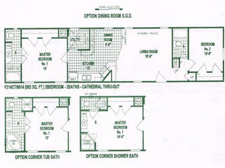 Option of single wide mobile home floor plans house plan for Small double wide floor plans