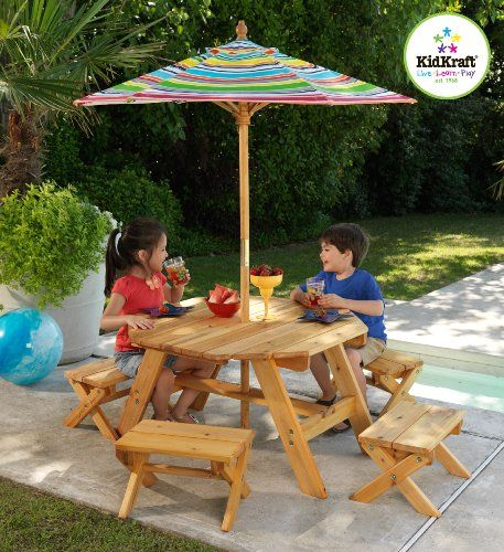 Kidkraft Octagon Patio Table And Stools With Striped Umbrella Kids Picnic Tables At Hayneedle
