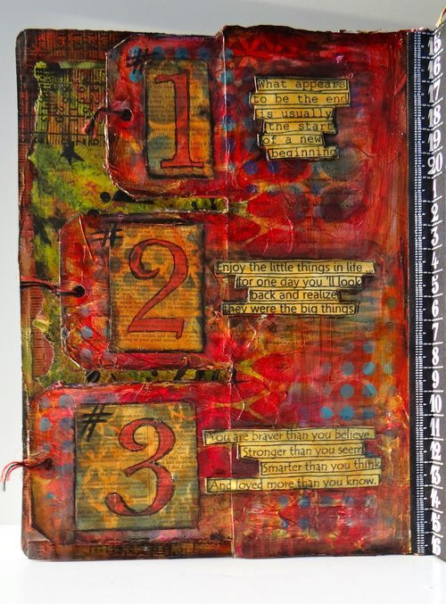 art journal - marjie kemper - link includes instructions on how to embed the tags to the page Kemperjournal22213