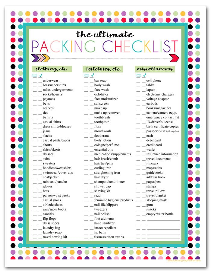 3 Free Printable Packing List Downloads Printable Packing List Travel Checklist Packing List