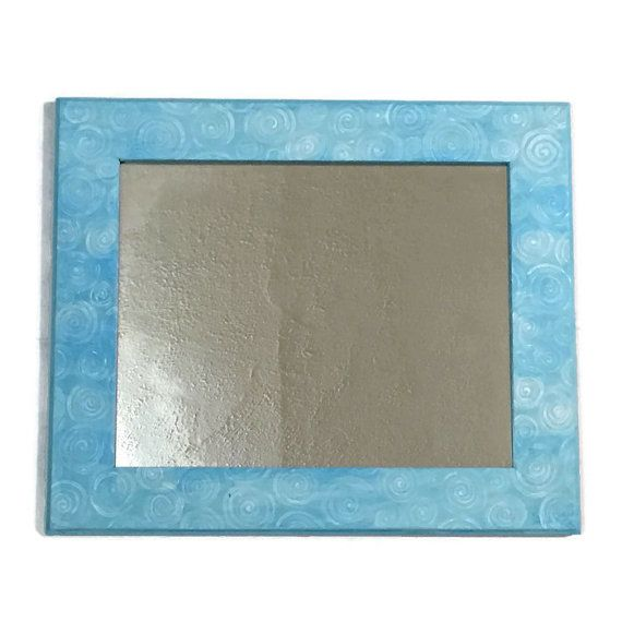 Sky blue Frame Mirror with White swirl Circles. Sky by MullaneInk
