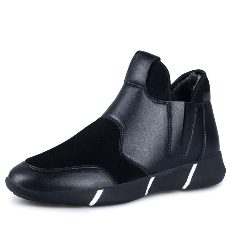 good quality mens slip-on snow boots with plush inside fashion model winter set feet high top shoes have fur inner man warm boot
