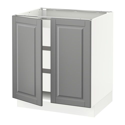 """IKEA - SEKTION, Base cabinet w/2 doors & 3 drawers, white, Ma, Bodbyn gray, 30x24x30 """", , MAXIMERA drawer is a smooth-running, full-extension drawer with built-in dampers so that it closes slowly, softly, and quietly.The door damper prevents your cabinet door from slamming by catching the moving door so that it closes slowly, gently and silently.Snap-on hinges can be mounted onto the door without screws, and you can easily remove the door for cleaning.Sturdy frame construction, ..."""