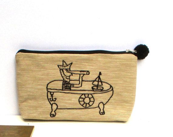 Handmade pouch Cosmetic bag Pencil case by Apopsis on Etsy