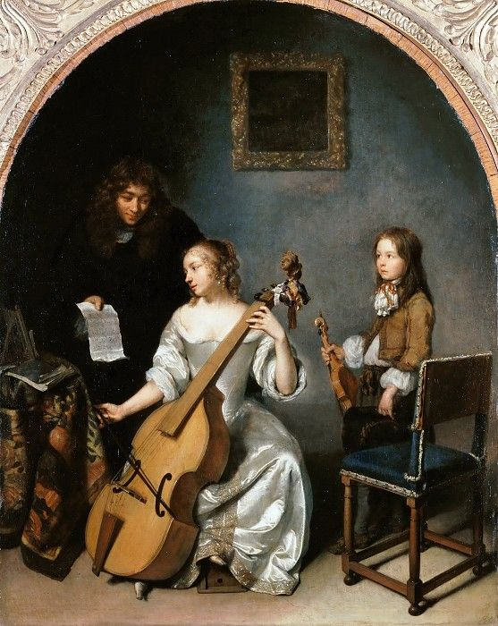 Playing the bass viola, by Caspar Netscher (Dutch, c. 1635-1684)