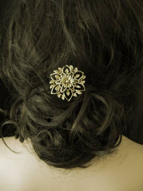 'Evelyn' gold 1940s vintage wedding hair comb-VintageBridalAccessories £75