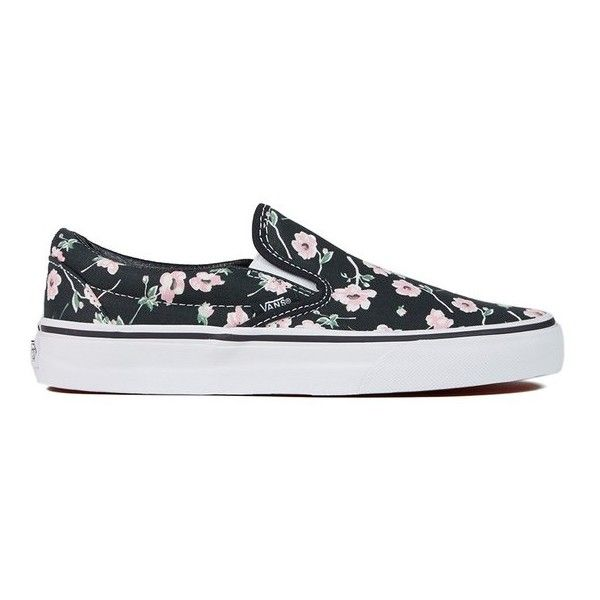 Vans Women's Classic Slip-On Vintage Floral Trainers - Blue Graphite ($75) ❤ liked on Polyvore featuring shoes, sneakers, blue, floral print sneakers, woven shoes, vans shoes, canvas slip on sneakers and canvas sneakers