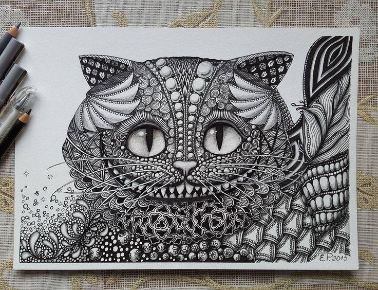 Тот же милый Чеширский кот:) Зентангл. Линеры. Акварельная бумага. #zentangle #чеширскийкот #графика #зентангл