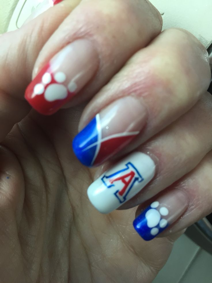UofA manicure. University of Arizona Wildcats. Bear down Arizona!