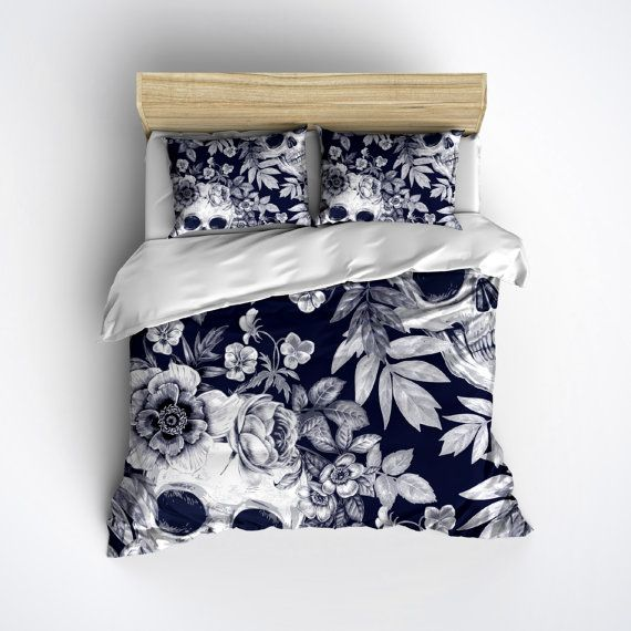 Skull Bedding - BLUE Print with Large Detailed Skull and Flower Print - Skull Bed Linen, Skull Bedding Set