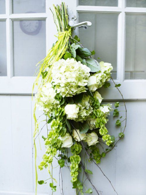 White Hydrangea And Bells Of Ireland Bouquets