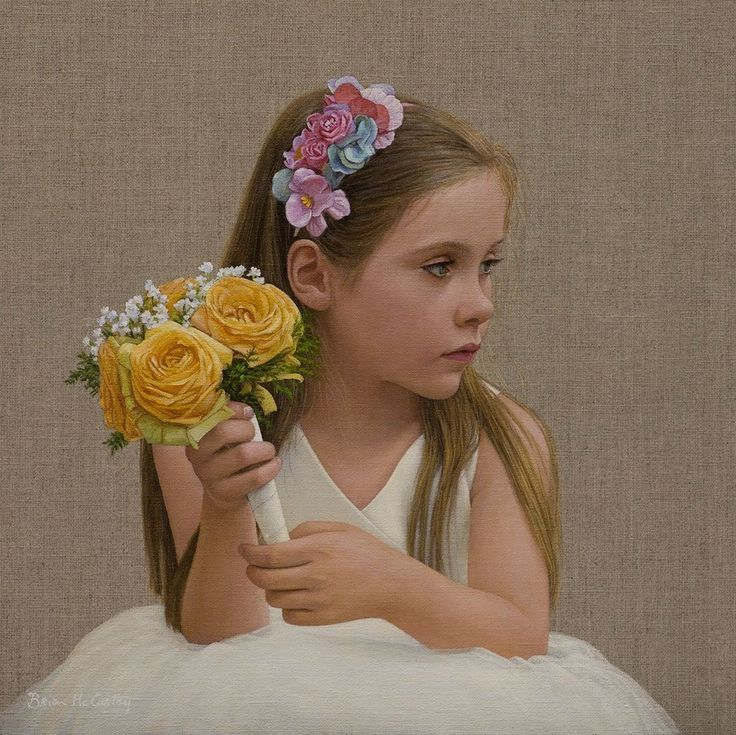 İrlandalı ressam Brian Mc Carthy nin  çiçekli kız tablosu.