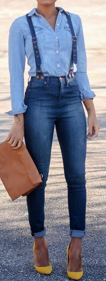 Dittos Santana Dark Wash High Rise Skinny Suspender Jeans