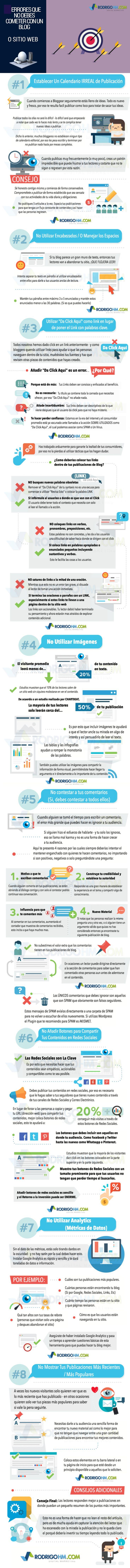 8 errores que no debes cometer con tu blog o web  Aquí encontrarás #infografias de temática relacionada con #blogs, herramientas para #bloggers, etc.