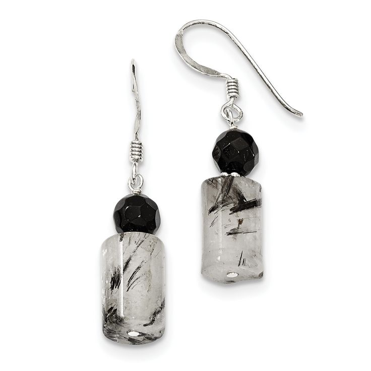 Sterling Silver Black Crystal & Tourmalinated Quartz Earrings QE2194
