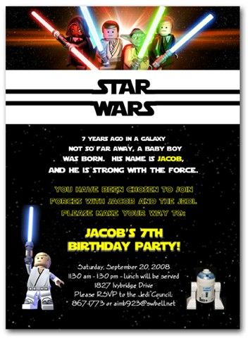 Lego Star Wars invite-soooo cute--digital file can be purchased and emailed to you within 48 hours!  Matching Address labels AND Jedi Training Certificate available too!