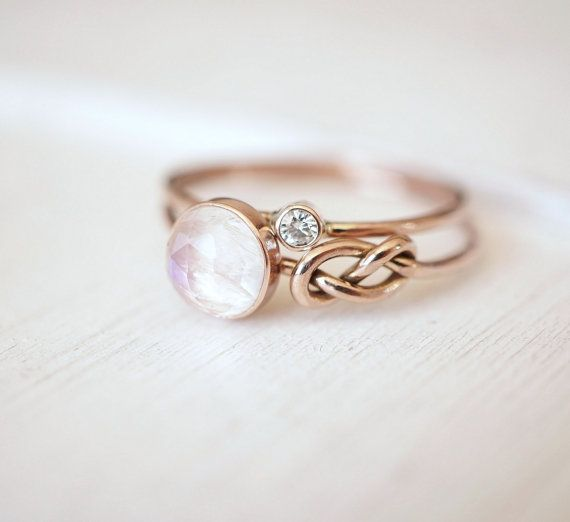 Moonstone Ring, Diamond Ring, Moissanite Ring, Ring Set, 14k Gold Ring, Engagement Stack, Handmade Rings,…