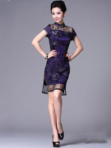 Purple Short Chinese Qipao / Cheongsam / Chinese Bridesmaid Dresses