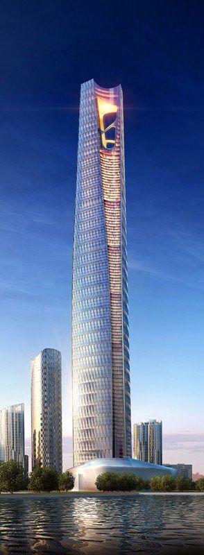 Dalian Greenland Center, Dalian, China by HOK Architects :: 88 floors, height 518m [Future Architecture: http://futuristicnews.com/category/future-architecture/]