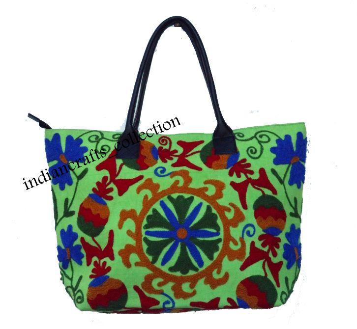 Indian Embroidery Cotton Woman Handbag Suzani & Shoulder Tote Bag Beach Boho Bag #Handmade #ShoulderBag