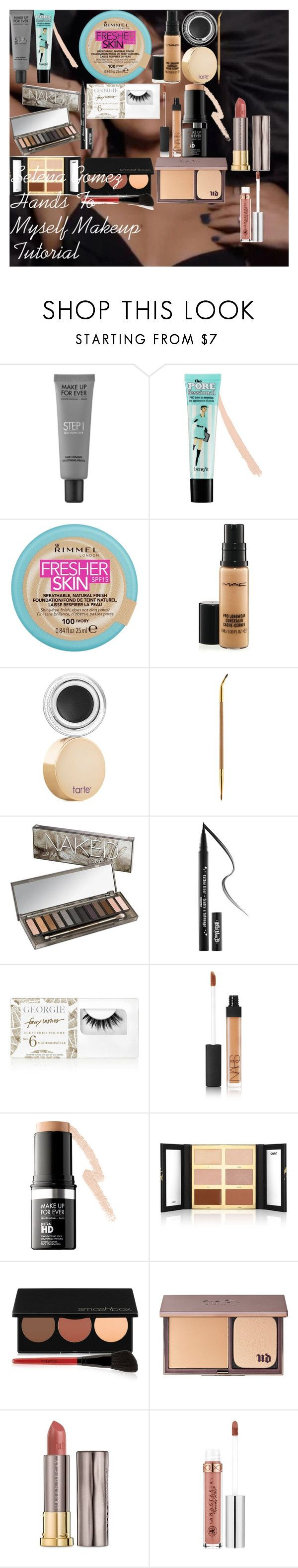 Selena Gomez Hands To Myself Makeup Tutorial by oroartye-1 on Polyvore featuring beauty, Urban Decay, tarte, MAKE UP FOR EVER, Benefit, NARS Cosmetics, MAC Cosmetics, Anastasia Beverly Hills, Kat Von D and Rimmel
