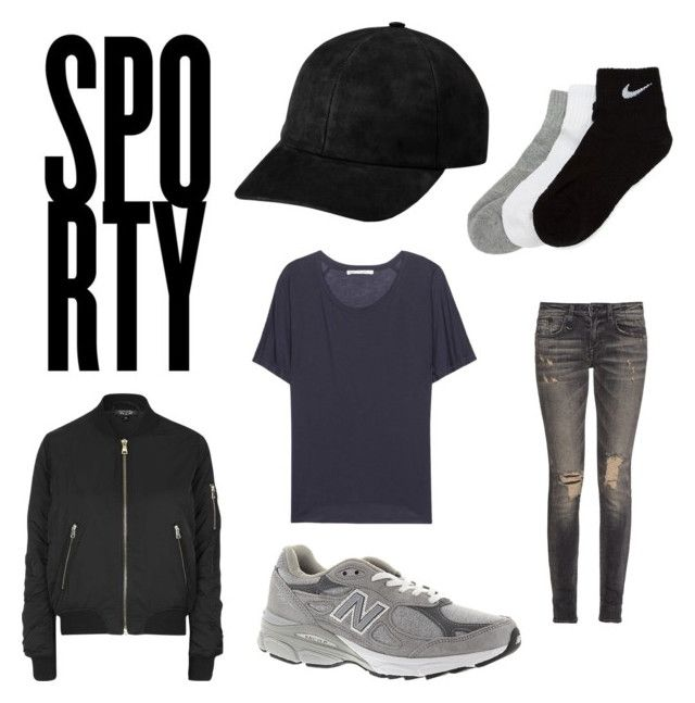 """Sporty"" by fridasaaa on Polyvore featuring Topshop, New Balance, R13, Acne Studios and NIKE"