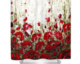 Florale Kunst Dusche Vorhang - roter Mohn