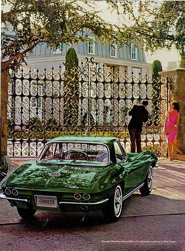 1965 Chevrolet Corvette Sting Ray Convertible Photographed in front of The Drysdale's House from The Beverly Hillbillies Show.