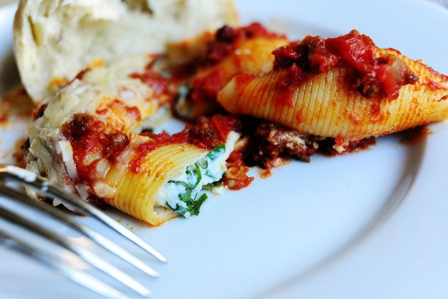 Three Cheese-Stuffed Shells With Meaty Tomato Sauce Recipe ...