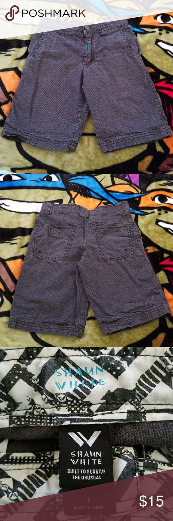 Boys Size 7 Shaun White pinstripe shorts #boys size 7 #Shaunwhite #black & #grey #gray #pinstripe #shorts with adjustable waist.  #adjustablewaist Used but in excellent condition,  no signs of wear, holes or fading. #Comfortable & #Lightweight. 100% cotton. #cotton #100%cotton Shaun White Bottoms Shorts