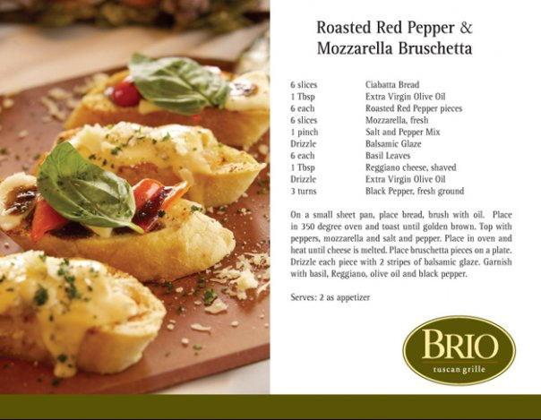 Roasted Red Pepper & Mozzarella Bruschetta (Brio Tuscan Grille)!