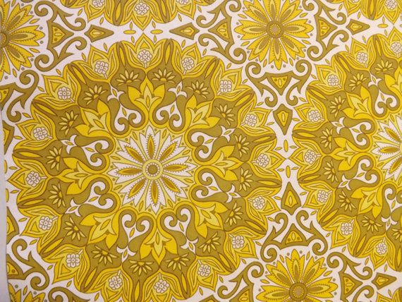 Yellow vintage wallpaper retro mandala paper by mumxie on Etsy