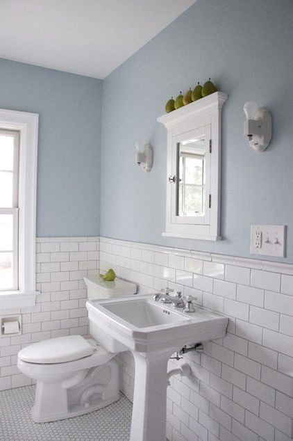 Color walls and silver grout Arctic white subway tile by Daltile with silver grout by Mapei re-creates the original charm of this Philadelphia bathroom. Love the recessed mirror