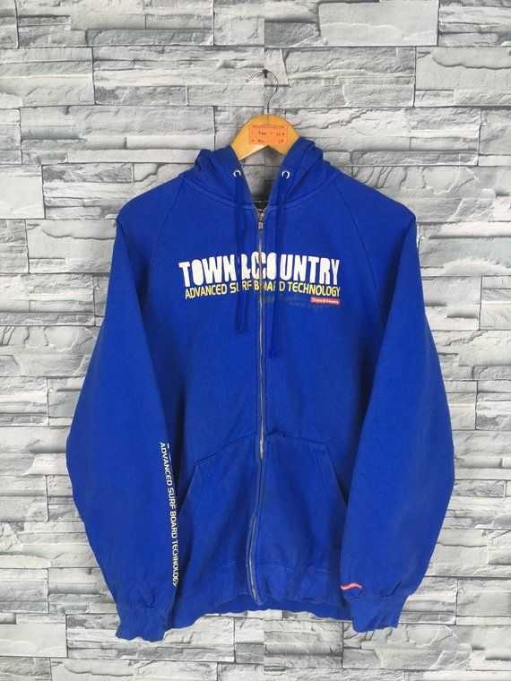 Vintage 90 s T C Surf Design Hoodie Sweater Large Hawaii Pipeline Aloha Da  Hui Town And Country Surfer Men Surfing Blue Sweatshirt L 844922c12ac