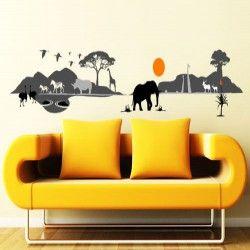 African skyline vinyl wall art